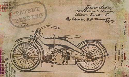 Harley motorcycle patent drawing